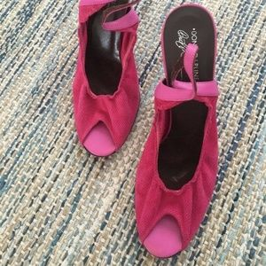 Donald J Pliner Hot Pink Suede Slingback Heels